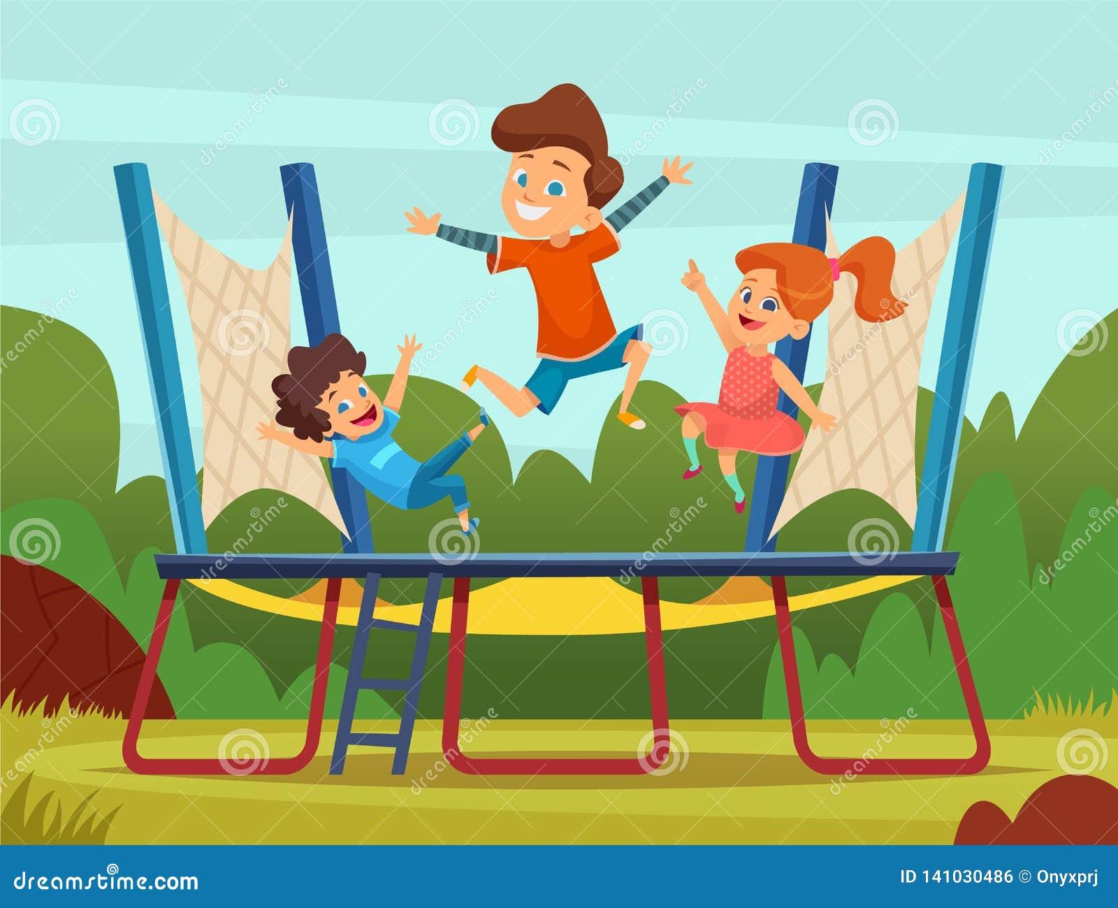 Hoppa trampolinungar Aktiva barnlekar på bakgrund för lekplatsvektortecknad film