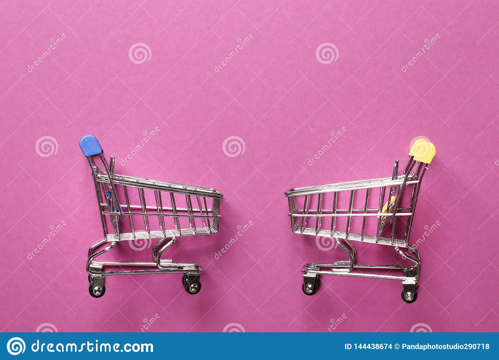 Hopping cart on a pink  background