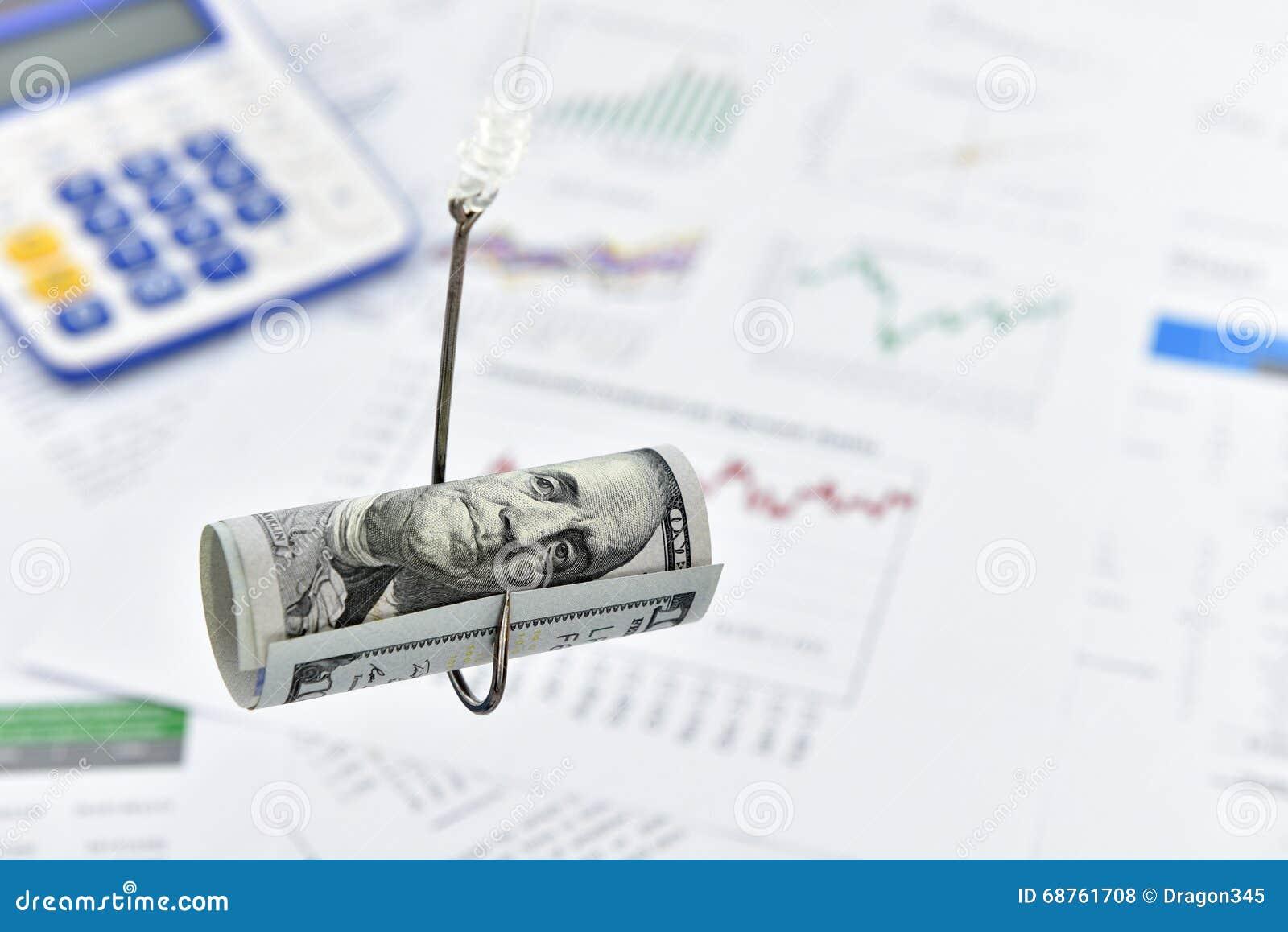 Hoprullad snirkel av dollarräkningen för USA 100 på en fiskekrok