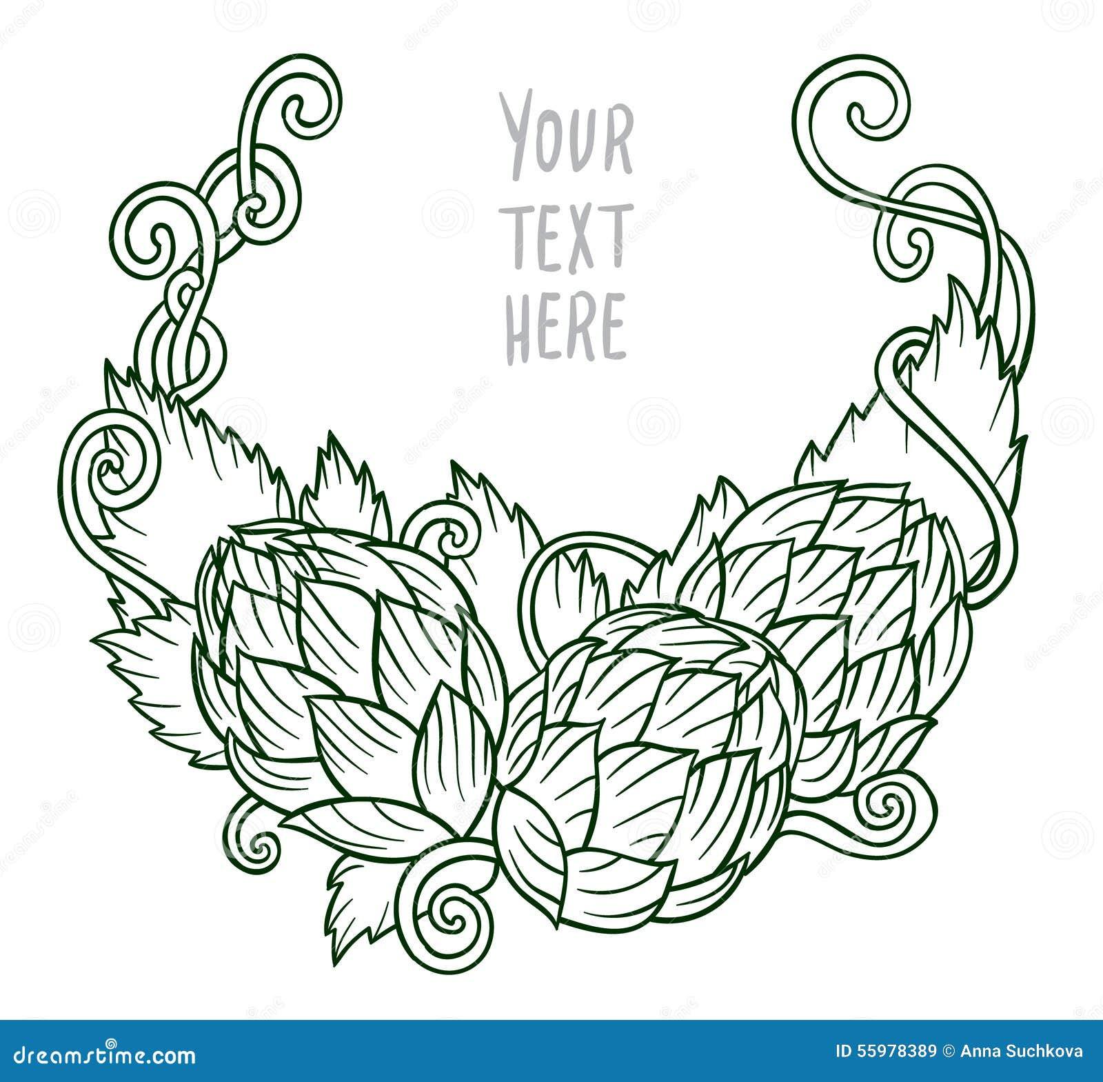 Hops vector visual graphic vignette design or logos ideal for beer