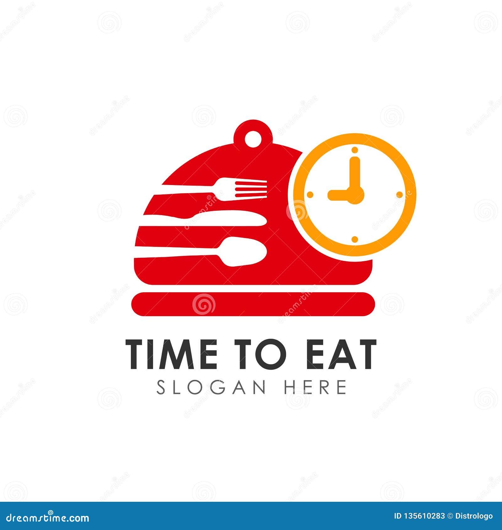 Hora de comer o projeto do ícone do vetor coma o molde do projeto do logotipo do tempo