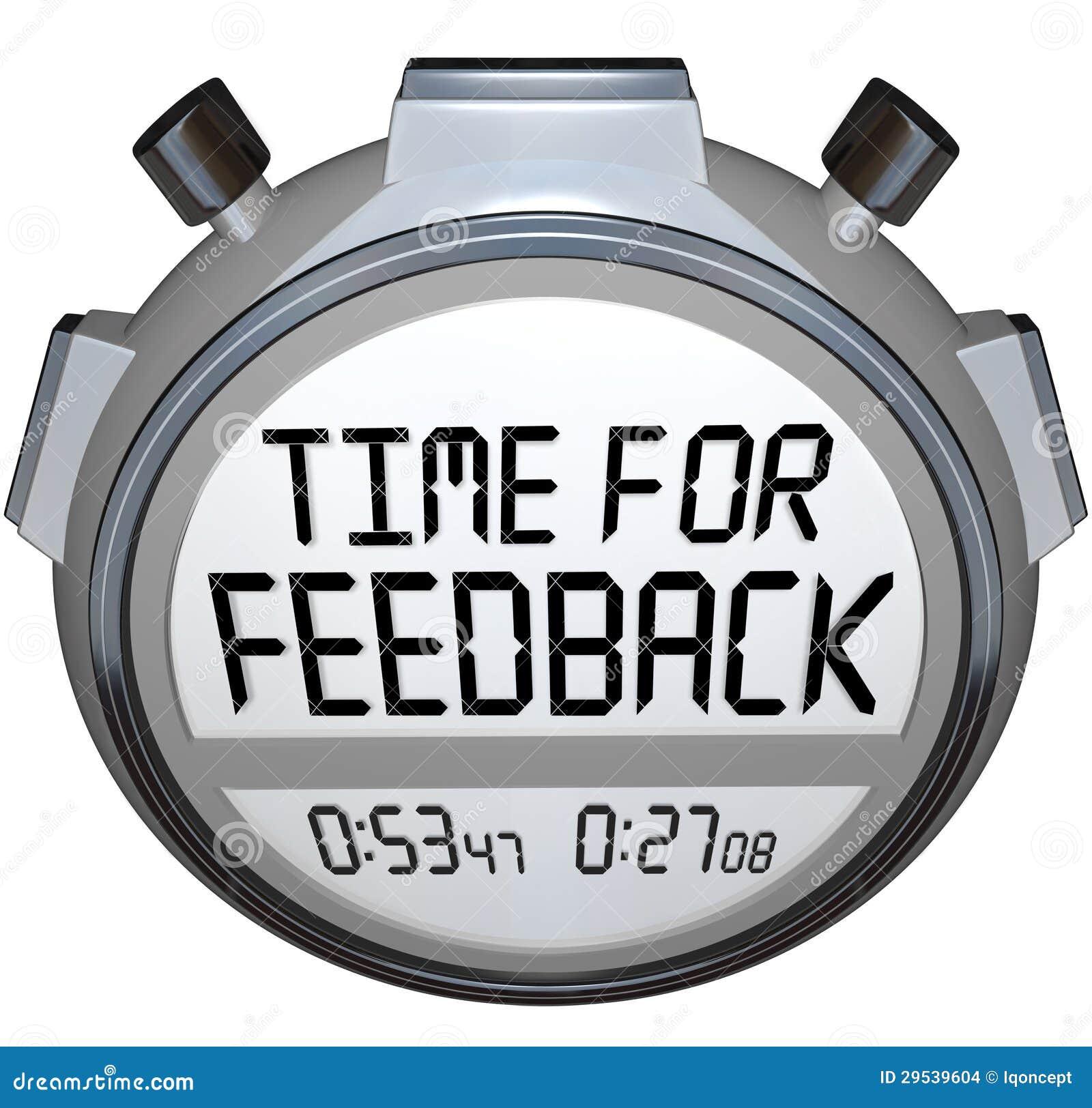 Hora para comentários procurando do temporizador do cronômetro das palavras do feedback