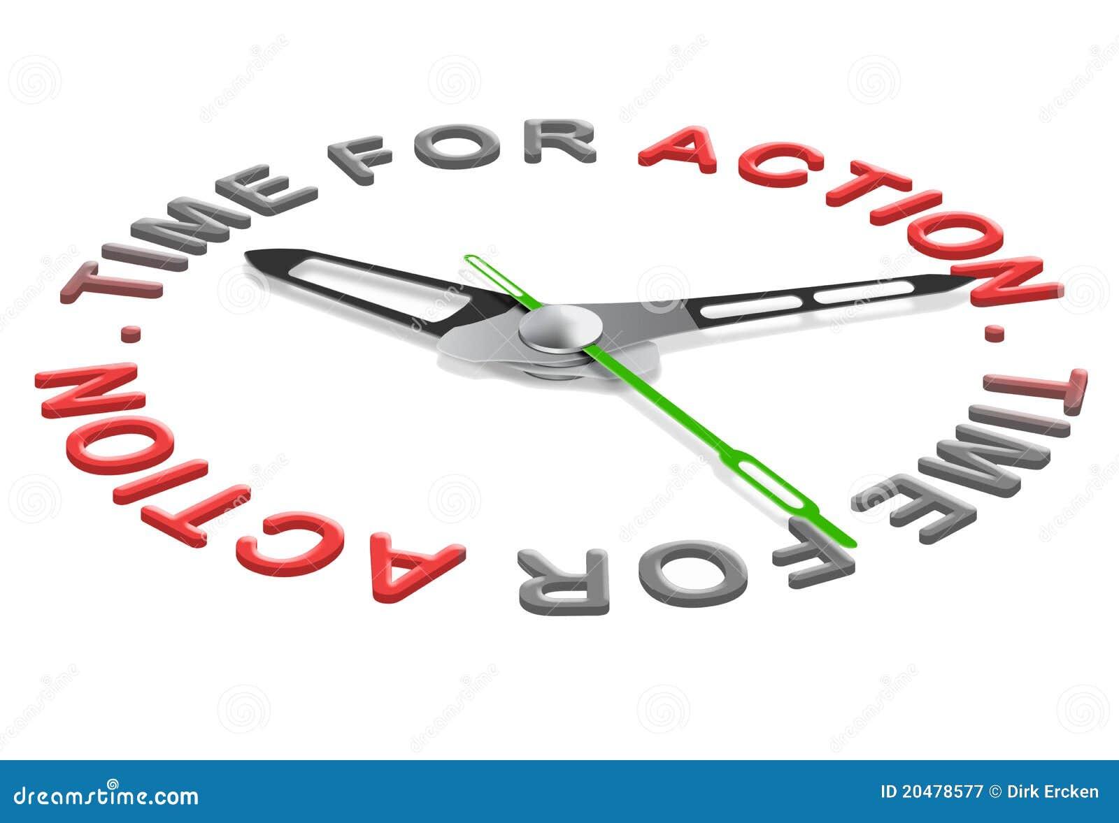 Hora para comienzo del acto de la acción el nuevo ahora