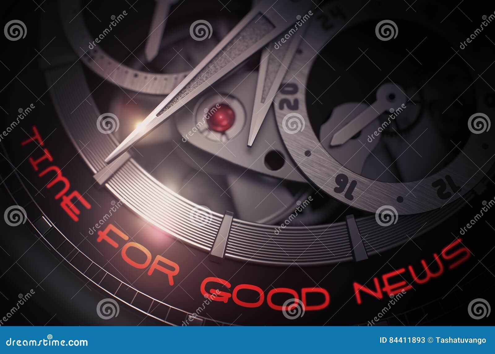 0f1ee19f90a7 Hora para las buenas noticias en mecanismo de lujo del reloj de los hombres  3d