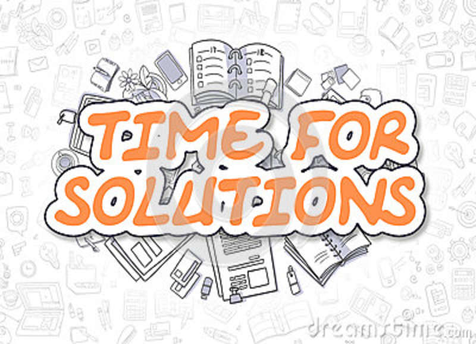 Hora para las soluciones - texto de la naranja de la historieta Concepto del asunto