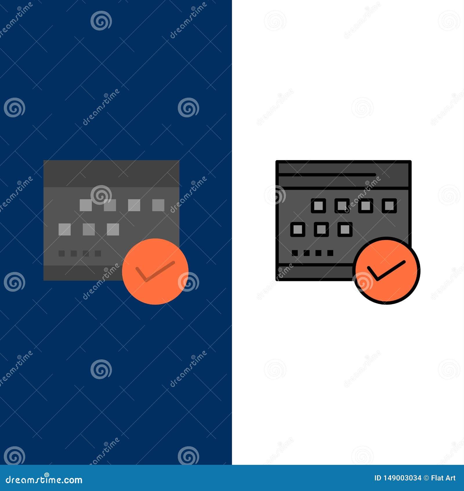 Horario, aprobado, negocio, calendario, acontecimiento, plan, iconos de planificación El plano y la línea icono llenado fijaron e