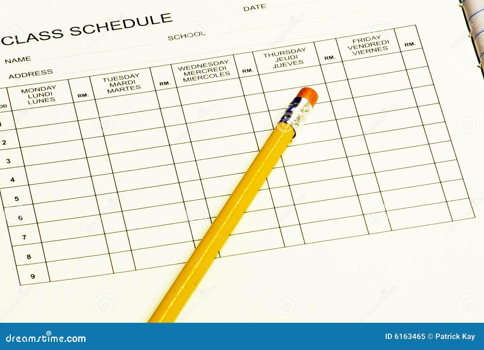 Horario de clase con el lápiz