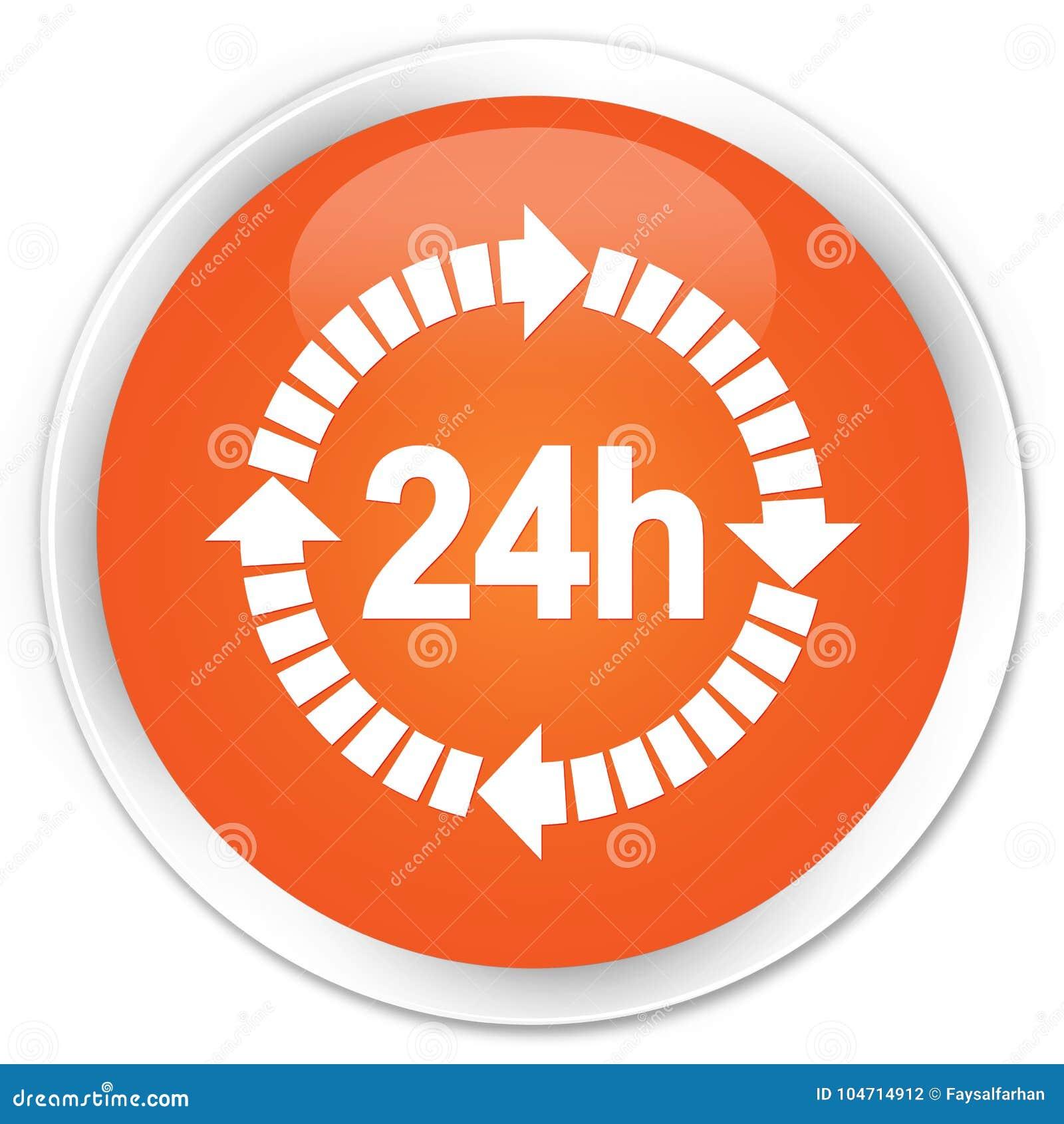 24 horas de la entrega de botón redondo anaranjado superior del icono