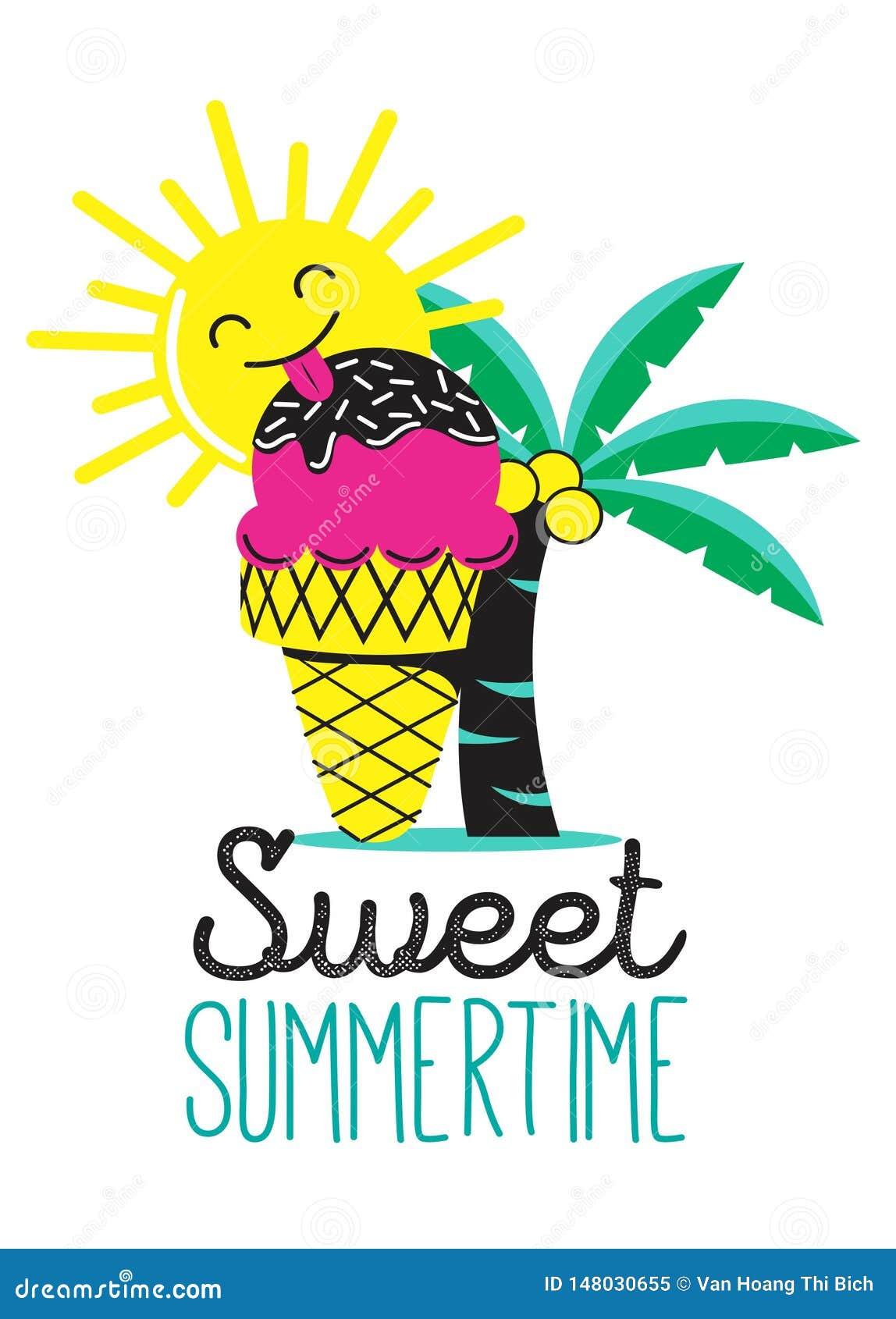 Horas de verão doces com gelado