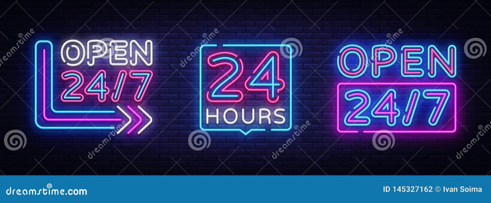 24 horas de vetor de n?on do grupo dos quadros indicadores Sinais o dia inteiro de n?on abertos, molde do projeto, projeto modern