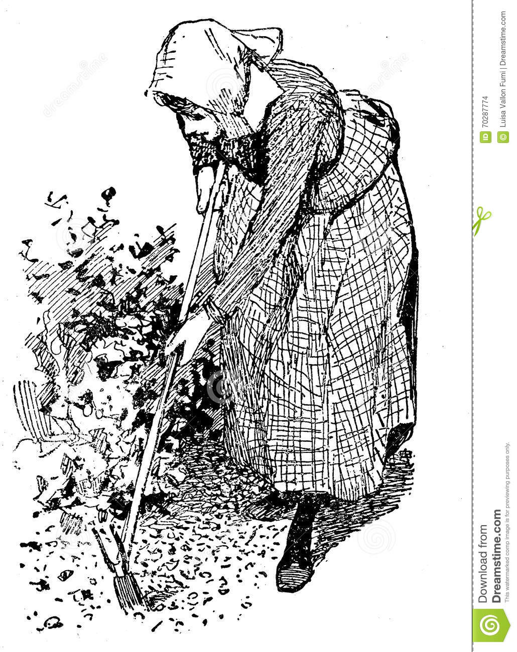 Horiculture vintage illustration woman working in the garden wi stock illustration - Gardening works in october winter preparations ...