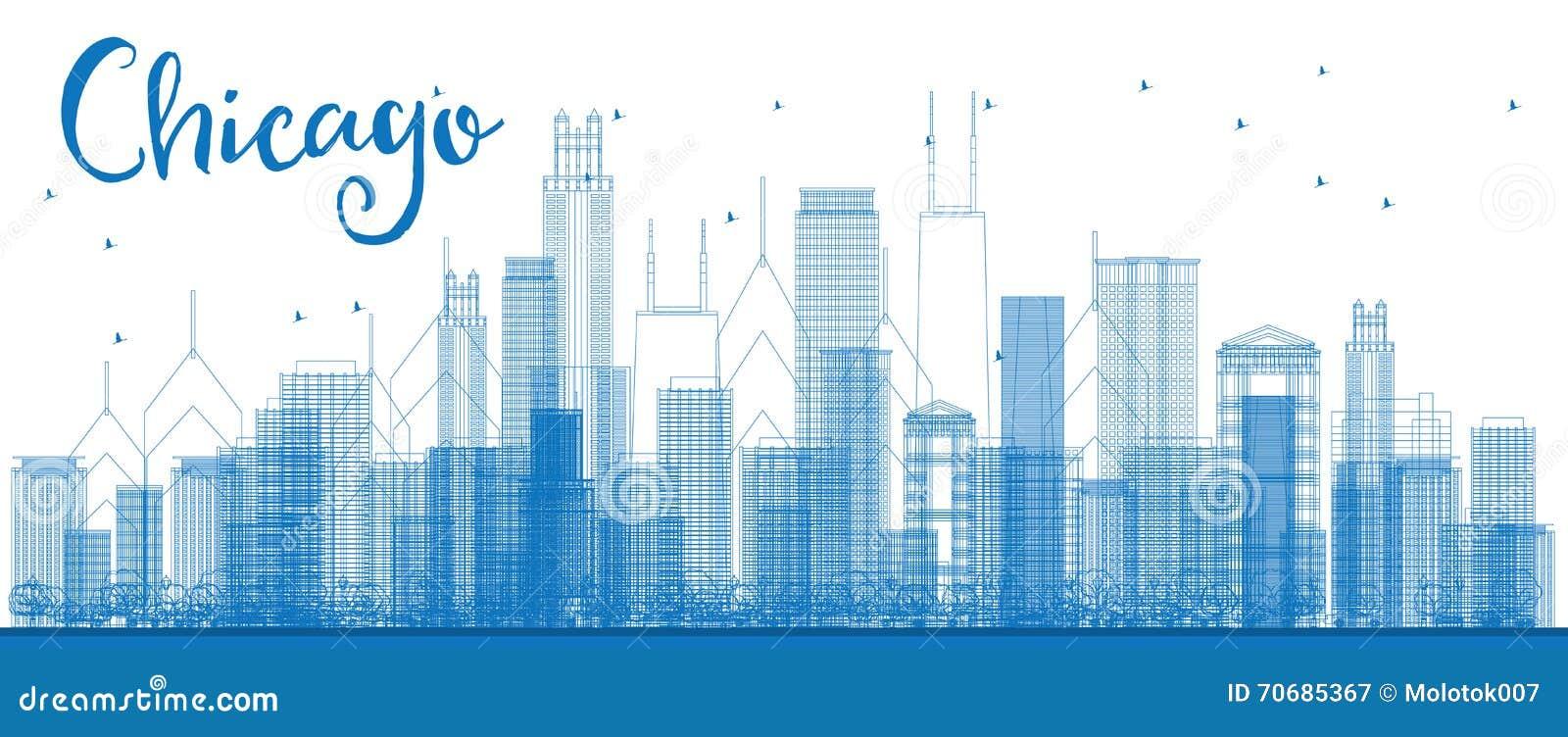 Horisont för översiktsChicago stad med blåa skyskrapor