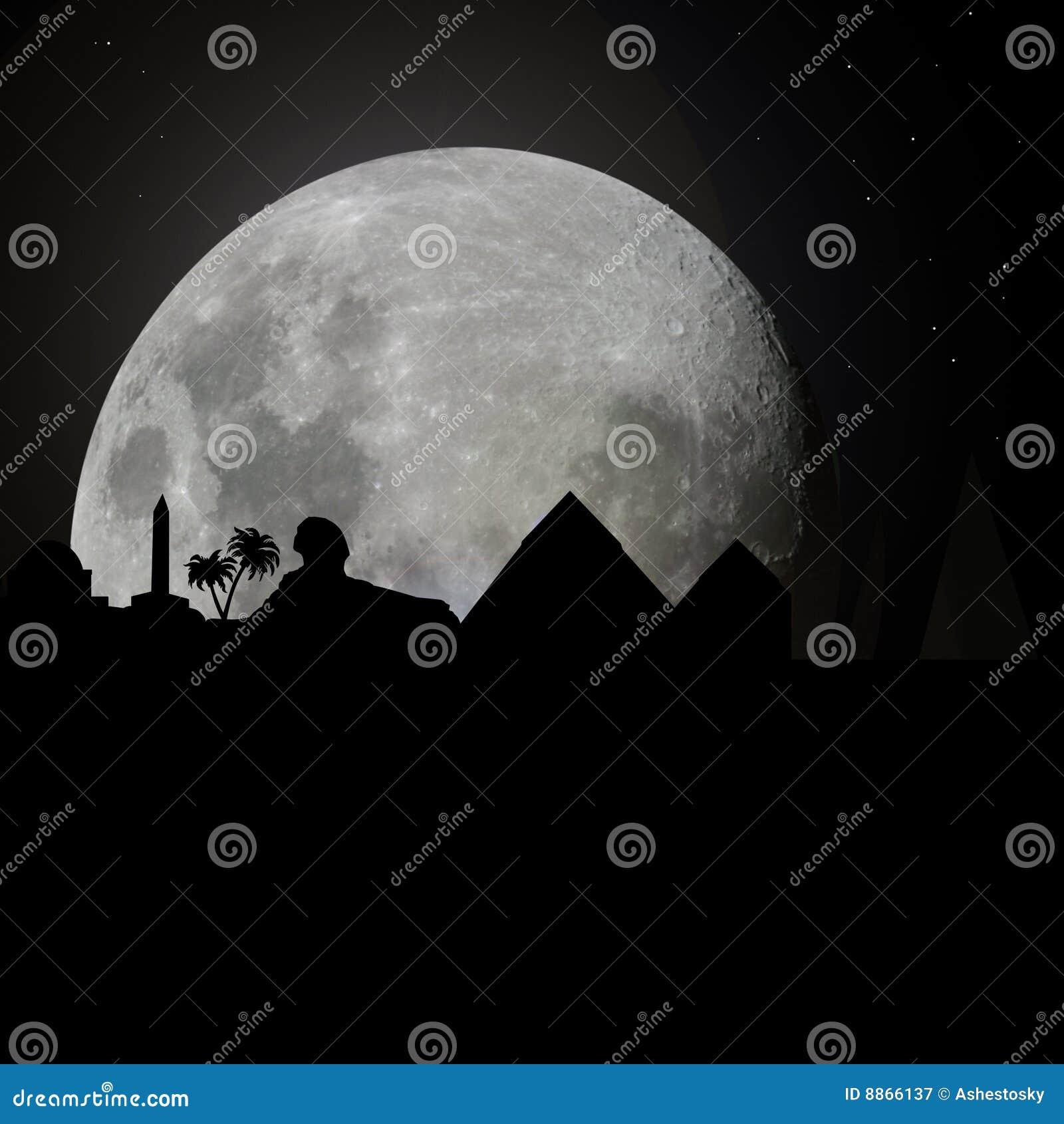 Horisont för egypt moonnatt