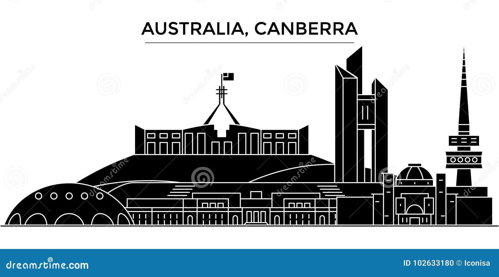 Horisont för staden för den Australien Canberra arkitekturvektorn, loppcityscape med gränsmärken, byggnader, isolerade på sikt