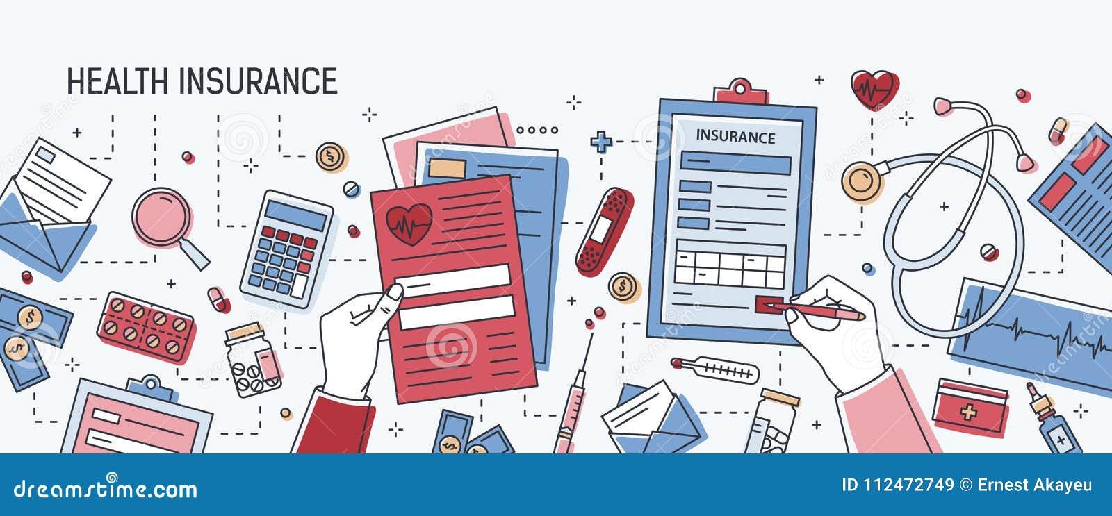 Horisontalbaner med fyllnads- ut ansökningsblankett för händer av sjukförsäkring som omges av dollar, pappers- dokument