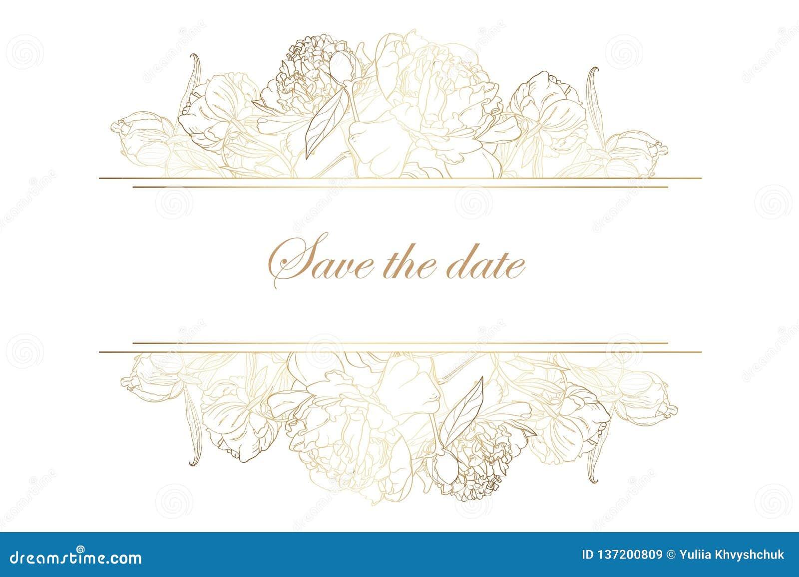 Horisontalbaner med guld- pionrosblommor Romantisk design för kvinnaprodukter