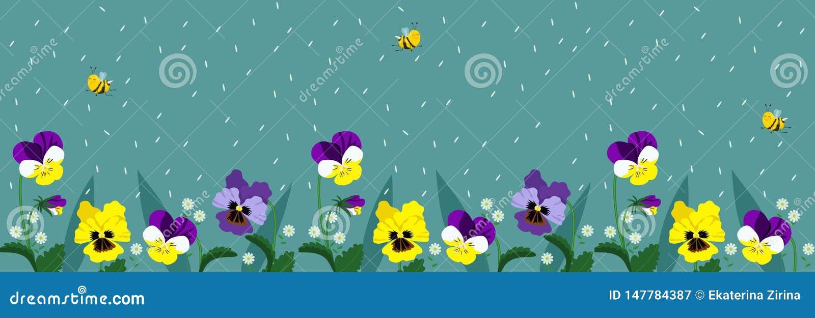 Horisontalbaner med gulliga bin och blommor En affisch med flygbin och fallande kronblad av turkosfärg vektor
