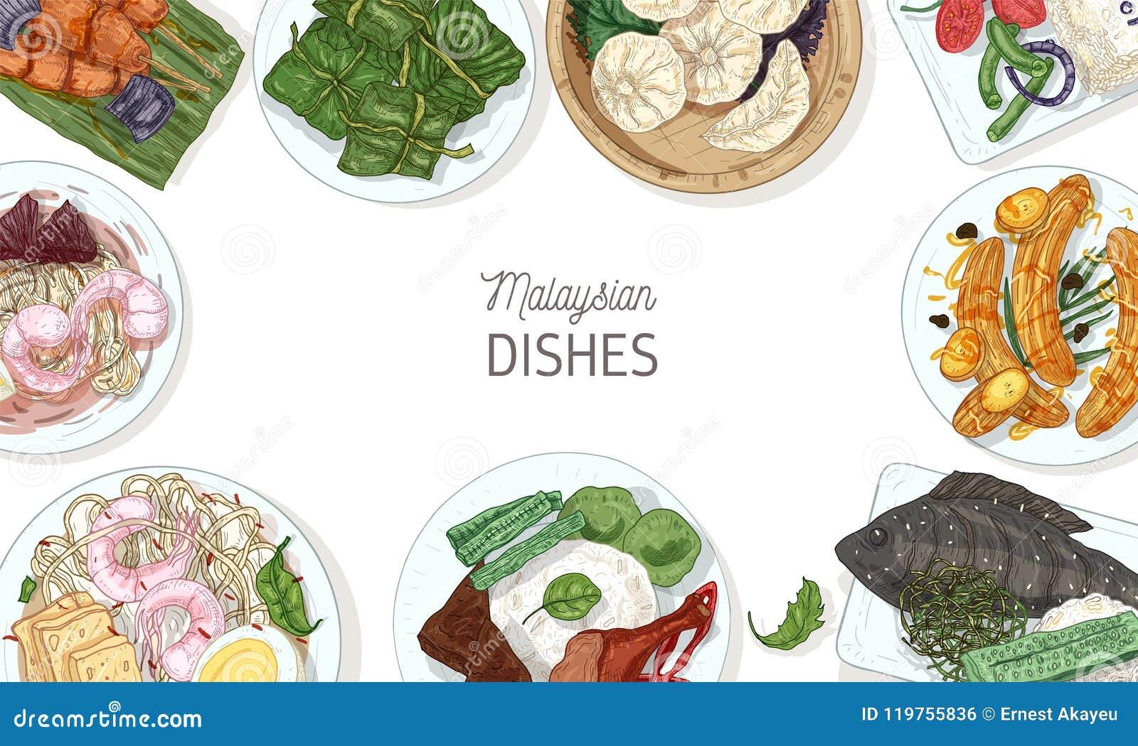 Horisontalbanermall med smakliga mål av malaysisk kokkonst eller ramen som göras av läcker kryddig asiatisk restaurang
