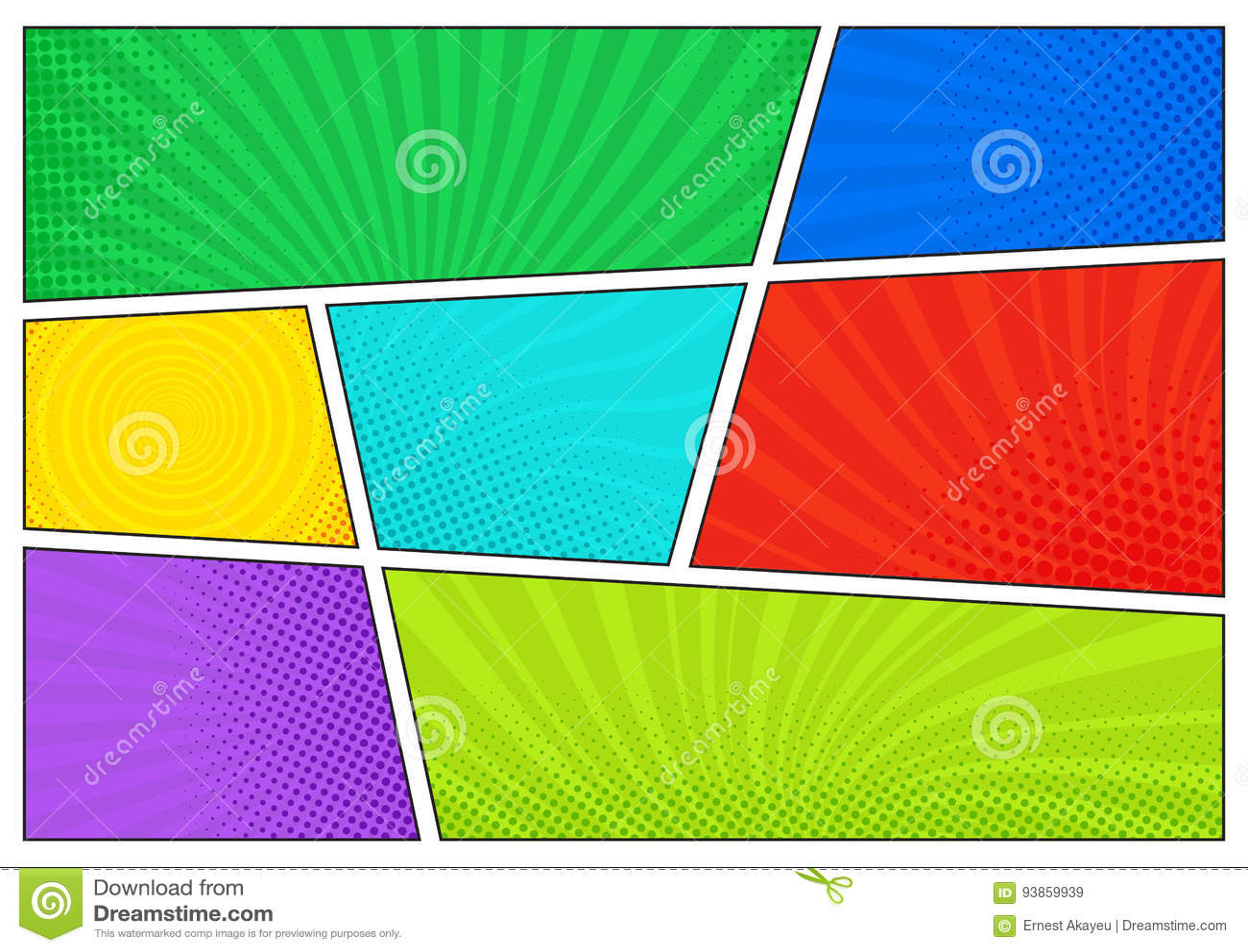 Horisontalkomikerbakgrund Ljus mall med celler, halvtoneffekter och strålar Färgrik bakgrund för vektor i pop-konst
