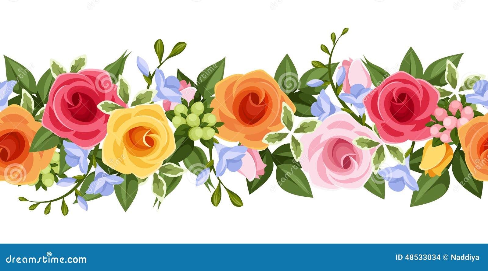 Horisontalsömlös bakgrund med färgrika rosor och freesia blommar också vektor för coreldrawillustration