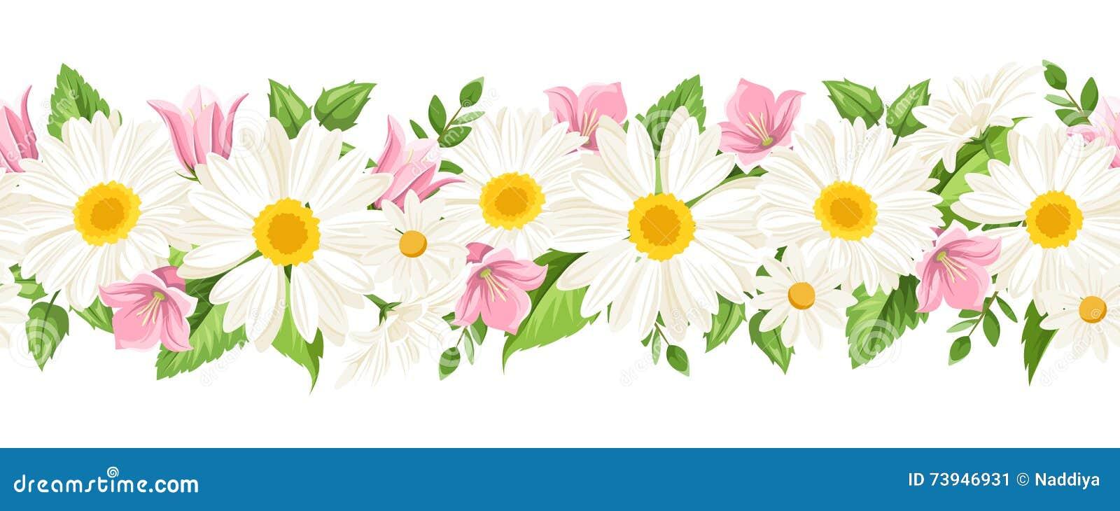Horisontalsömlös bakgrund med tusenskönor och blåklockan blommar också vektor för coreldrawillustration