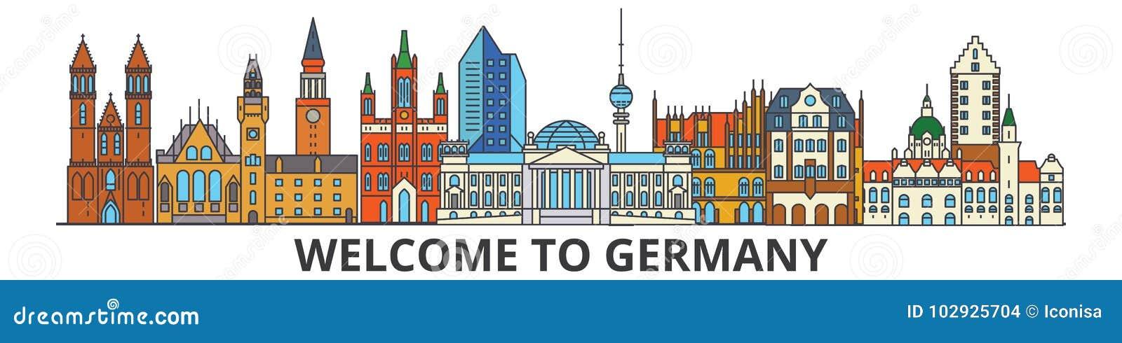 Horizon d ensemble de l Allemagne, ligne mince plate allemande icônes, points de repère, illustrations Paysage urbain de l Allema
