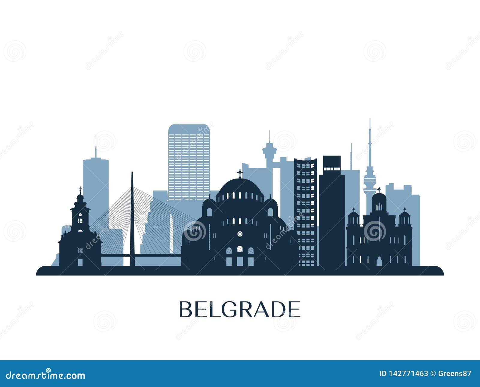 Horizon de Belgrade, silhouette monochrome
