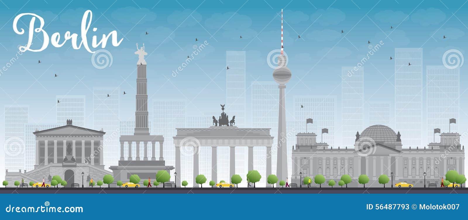 Horizon de Berlin avec le bâtiment gris et le ciel bleu