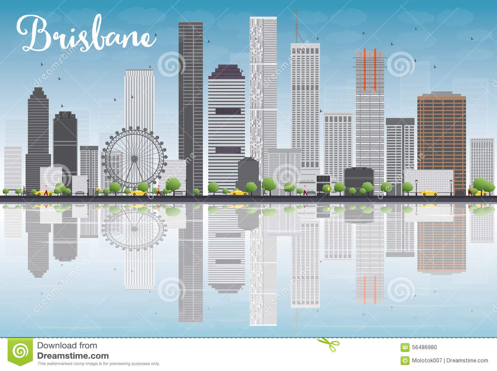Horizon de Brisbane avec le bâtiment gris et le ciel bleu
