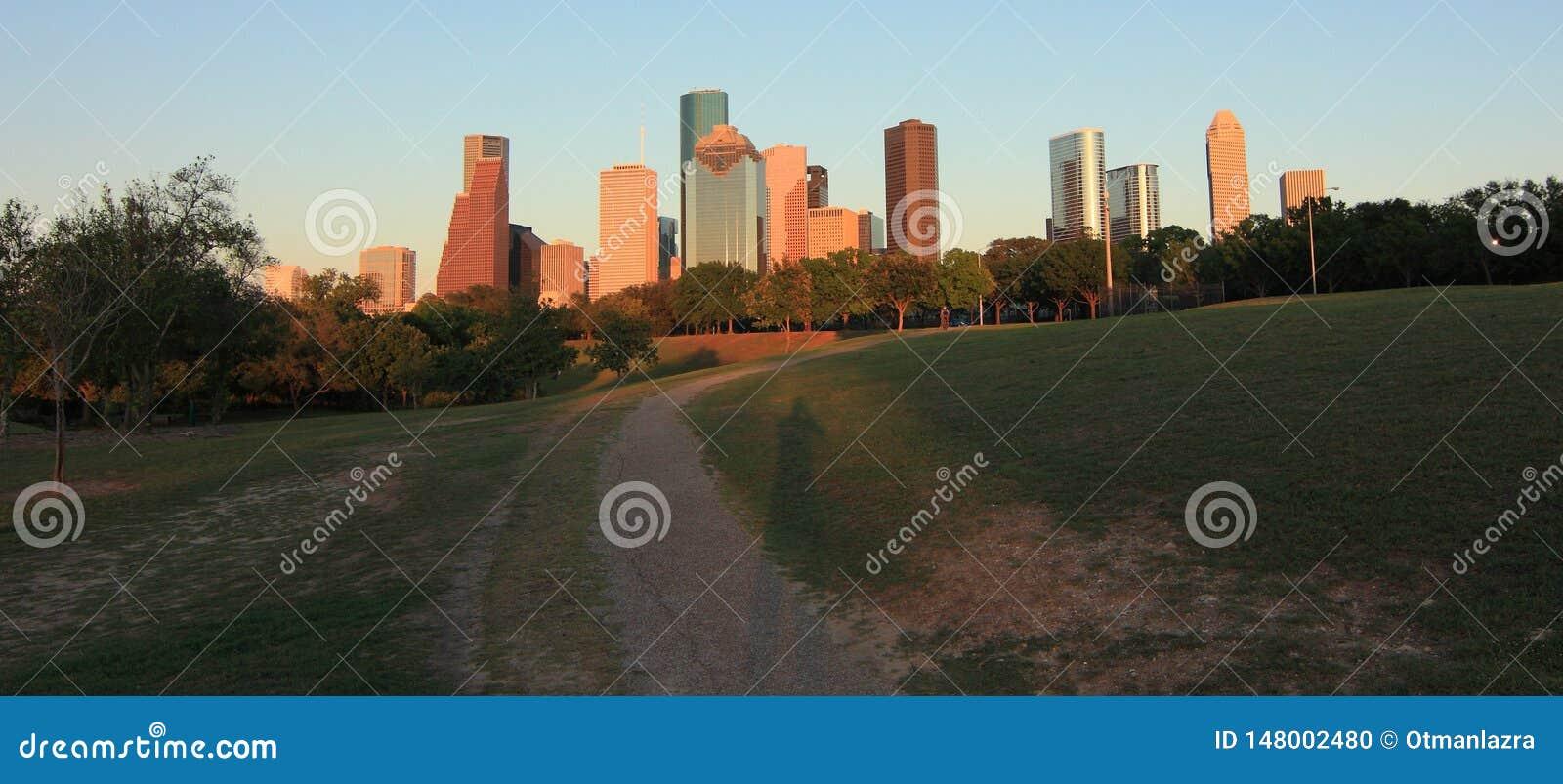 Horizon de Houston au coucher du soleil