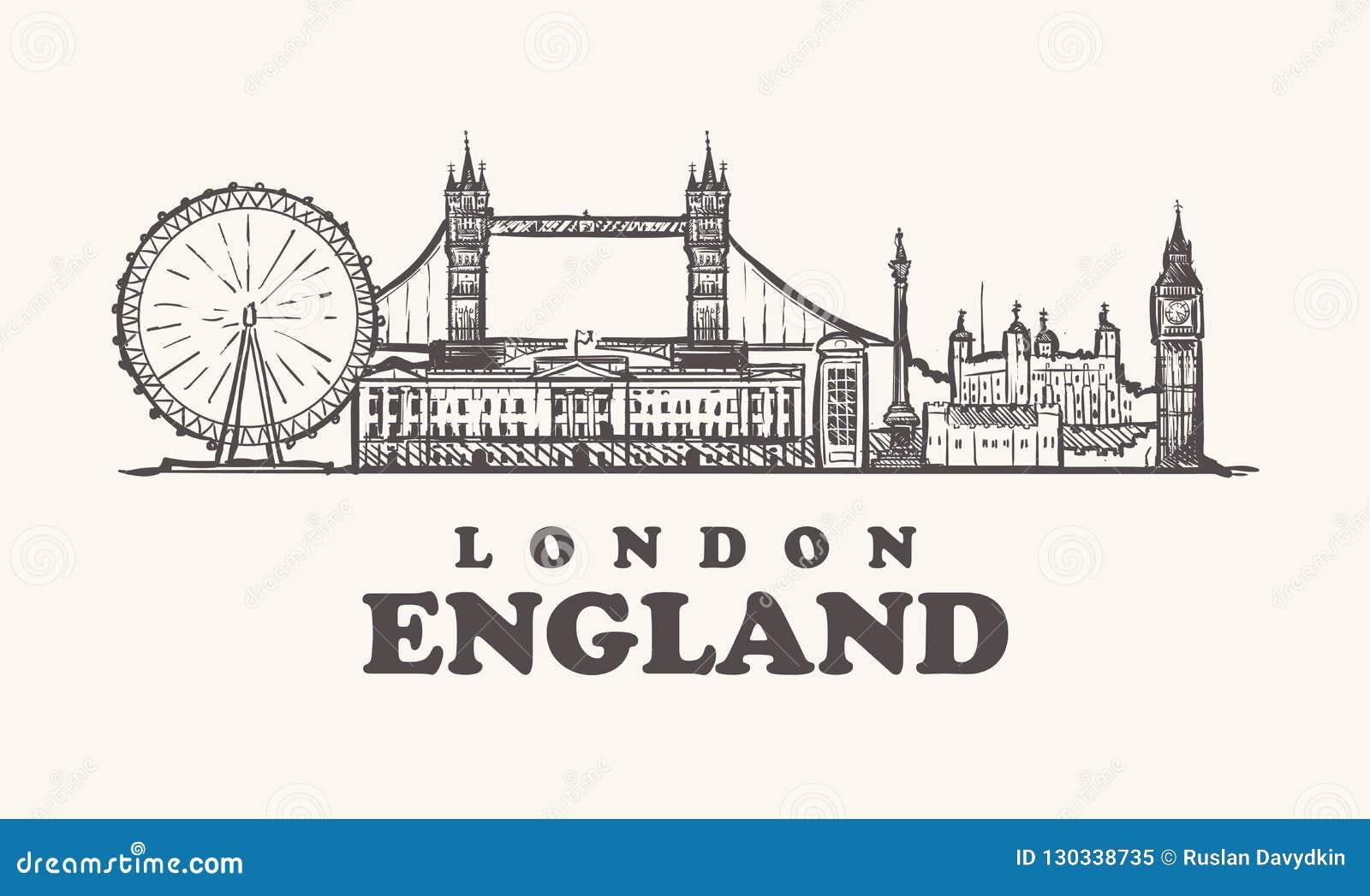 Horizon de Londres, illustration de vecteur de cru de l Angleterre, tirée par la main