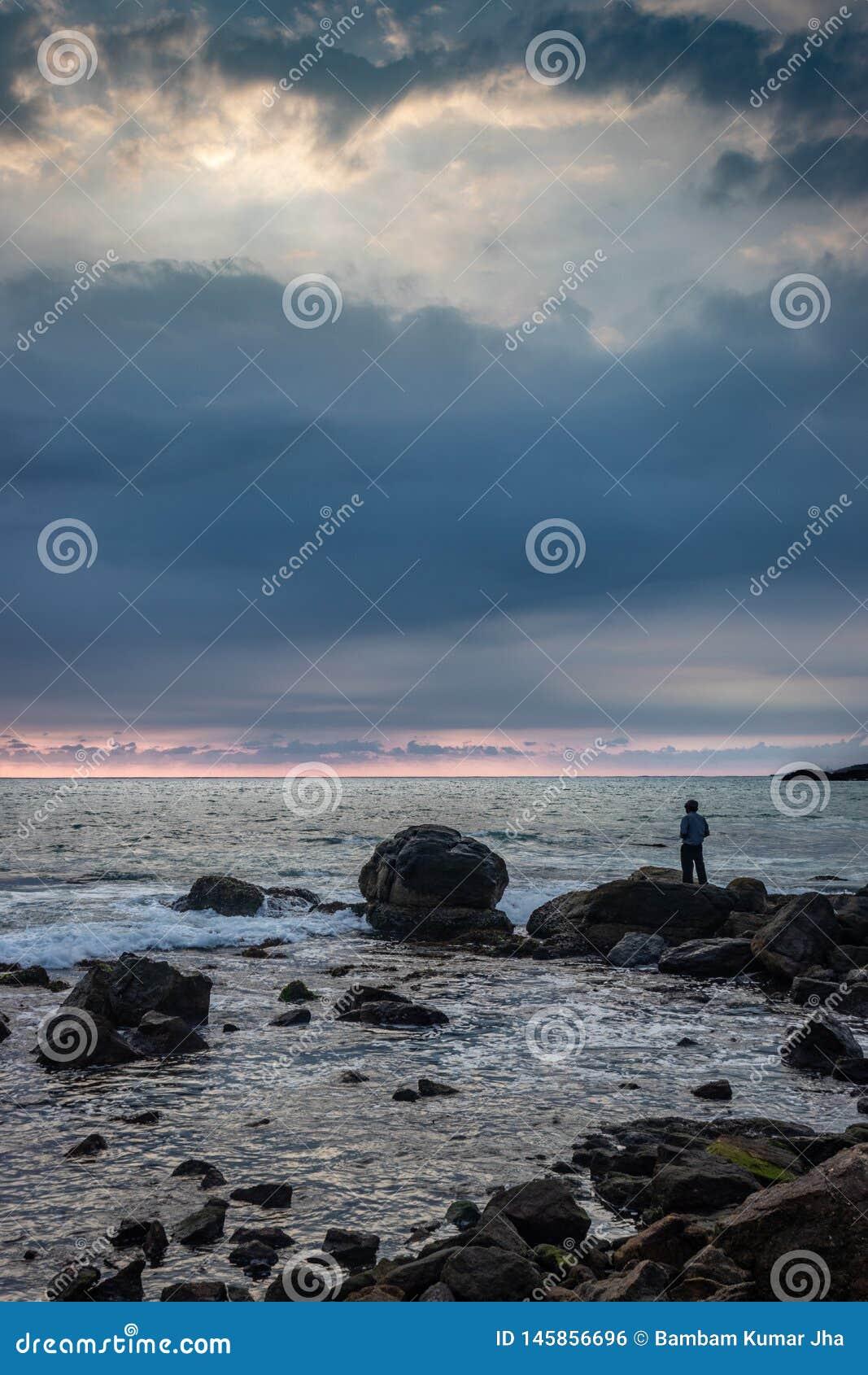 Horizon de mer de observation d homme de la position sur la roche