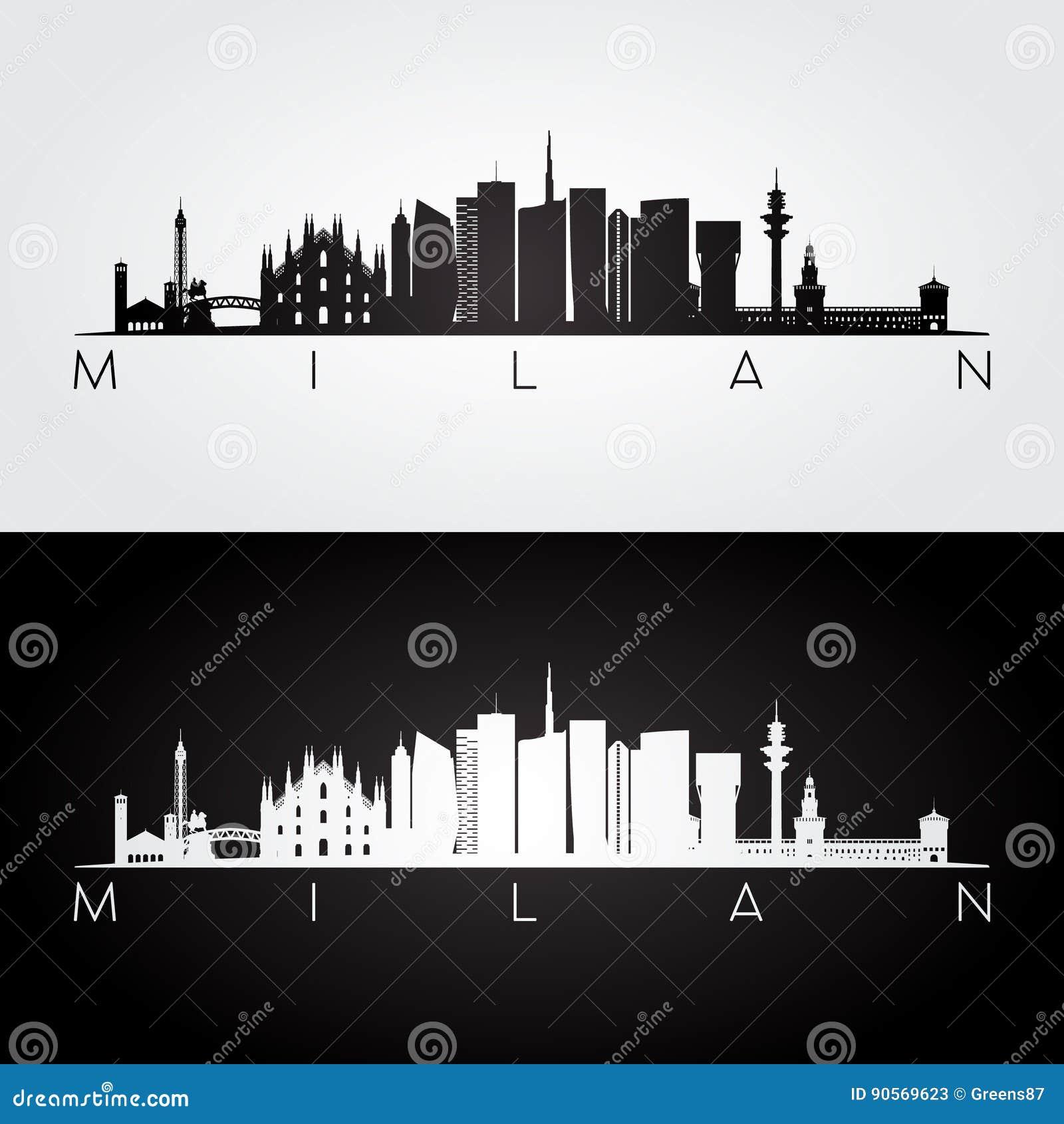 Horizon de Milan et silhouette de points de repère