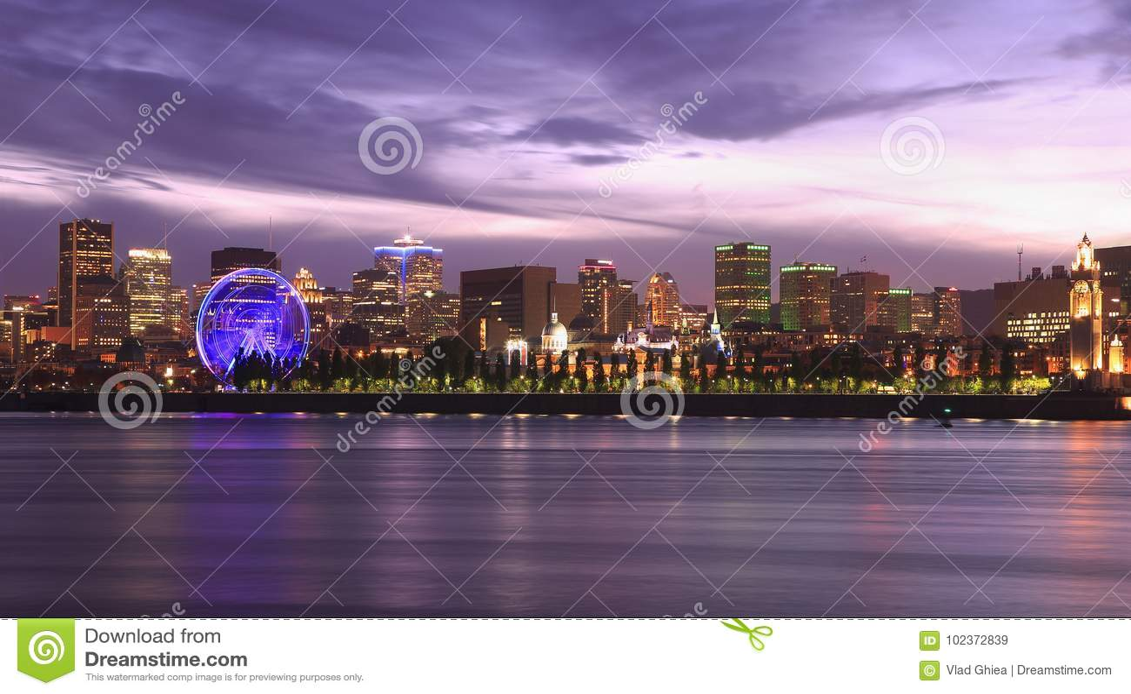 Horizon de Montréal illuminé la nuit, Canada