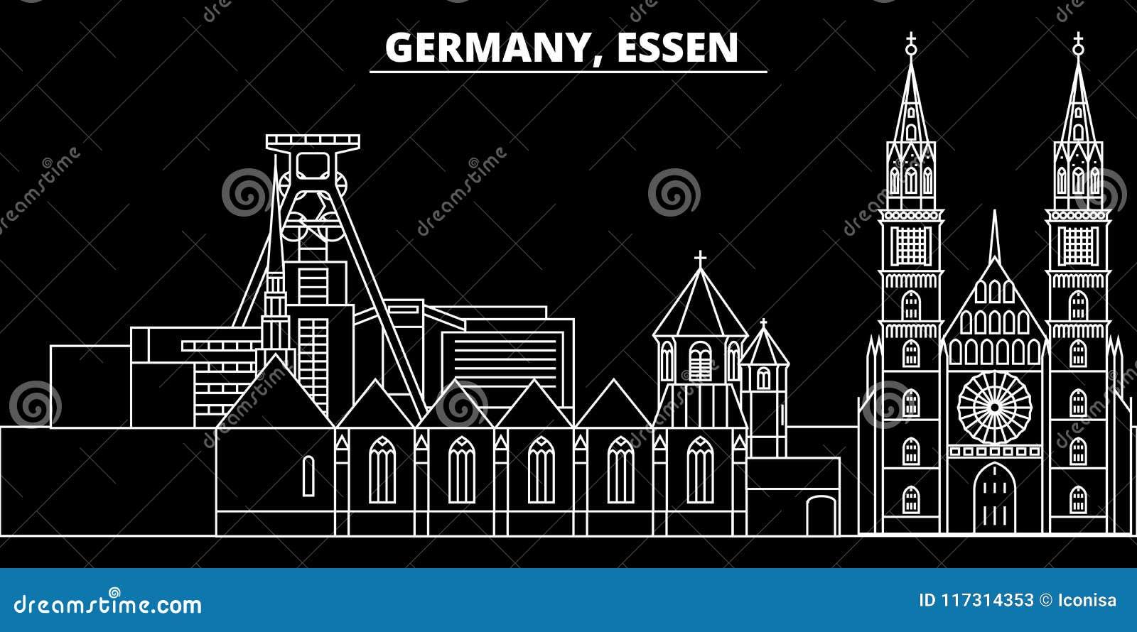 Horizon de silhouette d Essen Ville de vecteur de l Allemagne - d Essen, architecture linéaire allemande, bâtiments Illustration