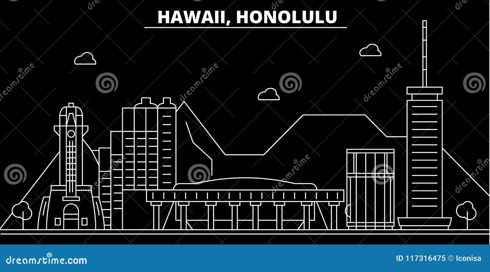 Horizon de silhouette de Honolulu LES Etats-Unis - Ville de vecteur de Honolulu, architecture linéaire américaine, bâtiments Voya
