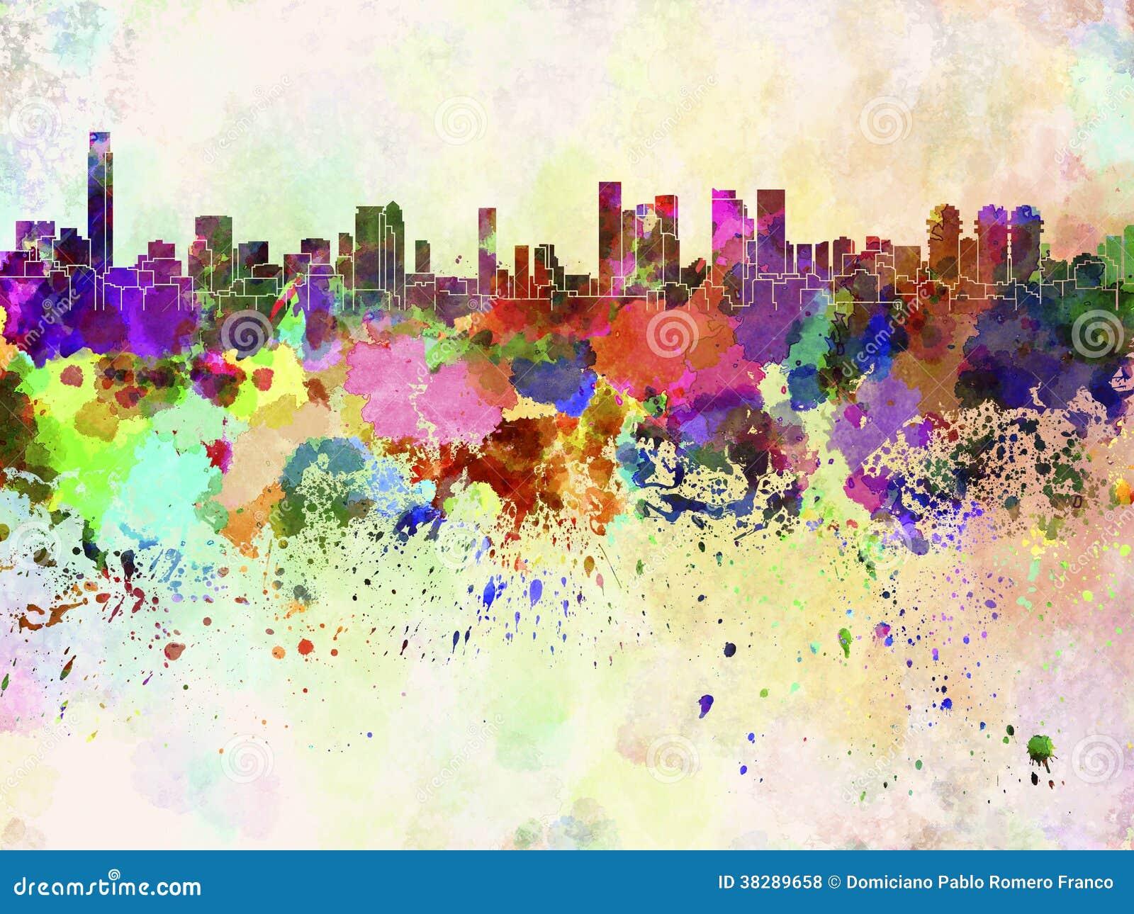 Horizon de Tel Aviv à l arrière-plan d aquarelle