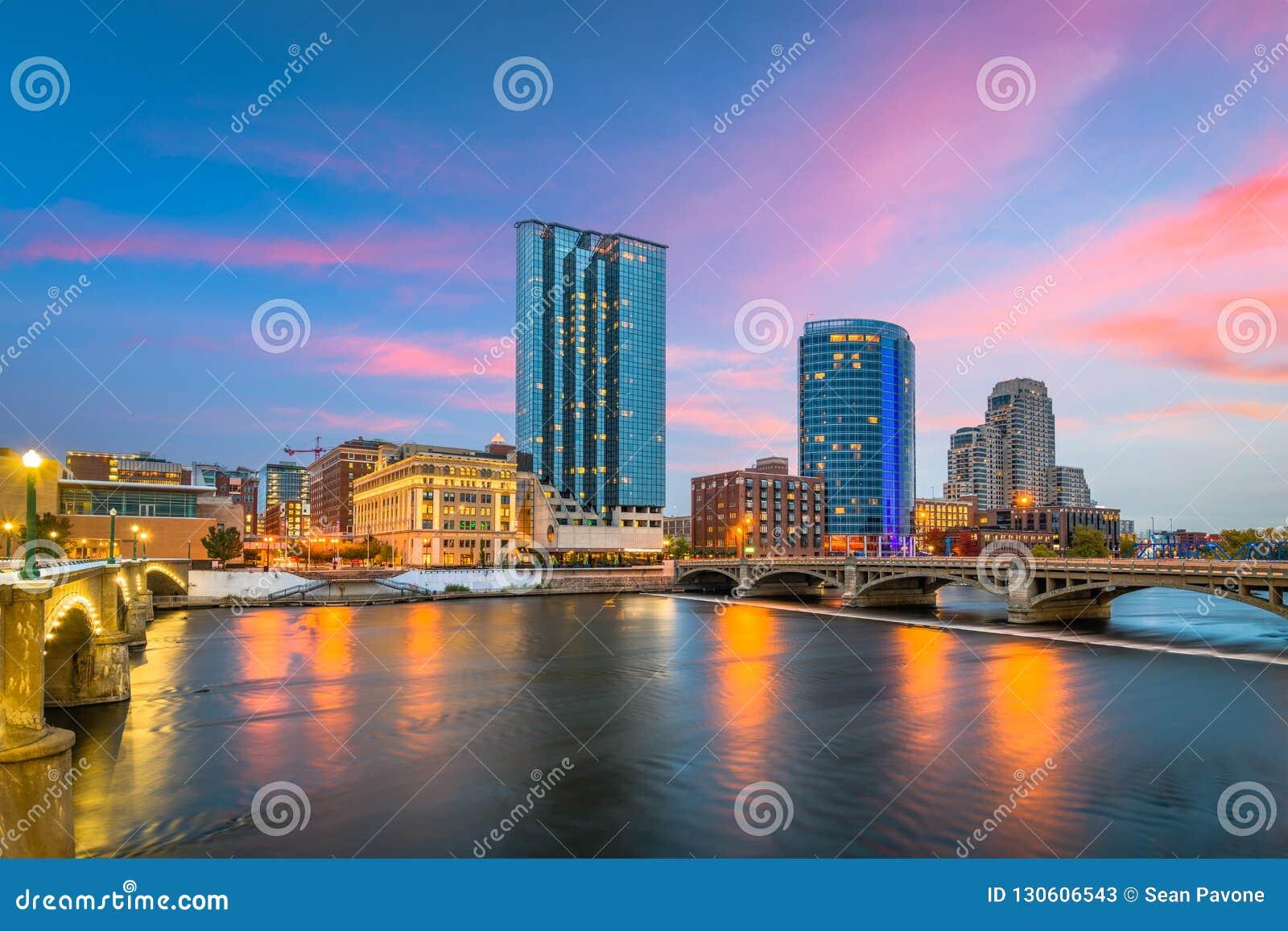 Horizon de Van de binnenstad van Grand Rapids, Michigan, de V.S.