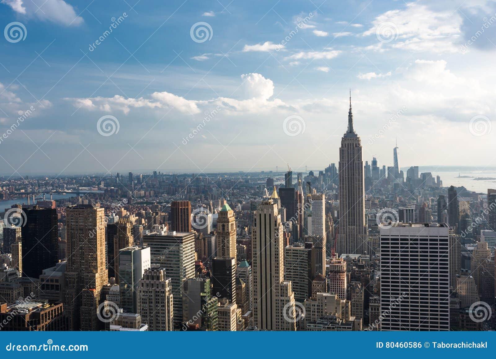 Horizon de van de binnenstad van Manhattan met het Empire State Building, de Stad van New York