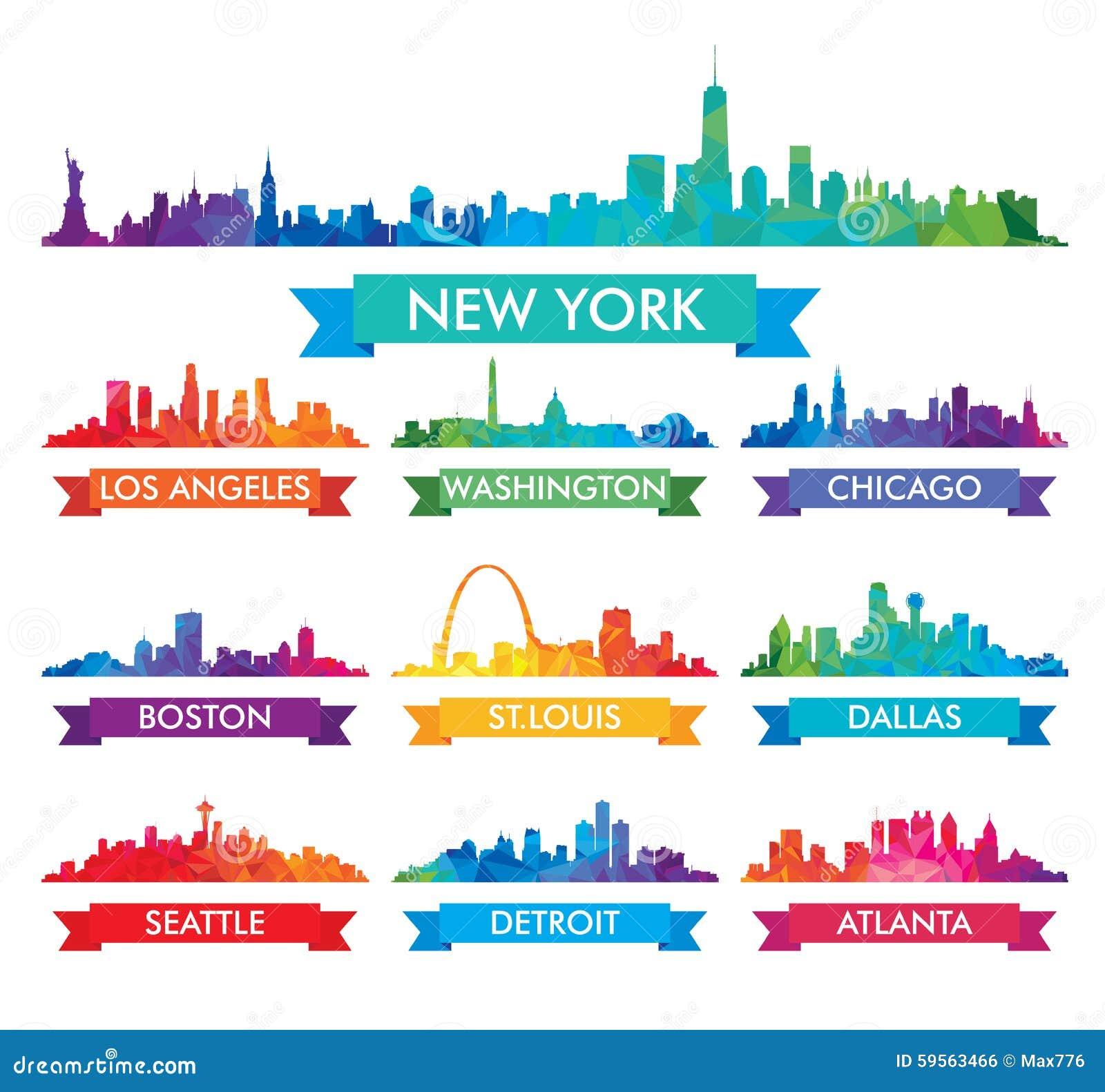 Horizon de ville d illustration colorée de l Amérique