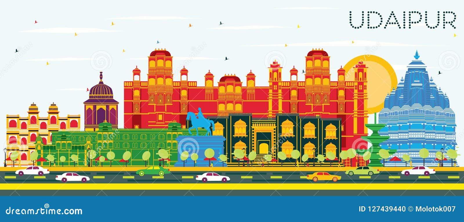Horizon de ville d Inde d Udaipur avec les bâtiments de couleur et le ciel bleu