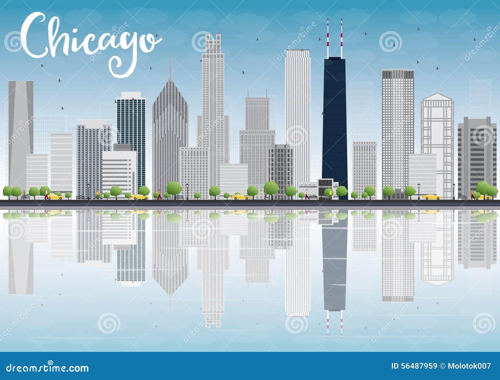 Horizon de ville de Chicago avec les gratte-ciel gris et les réflexions