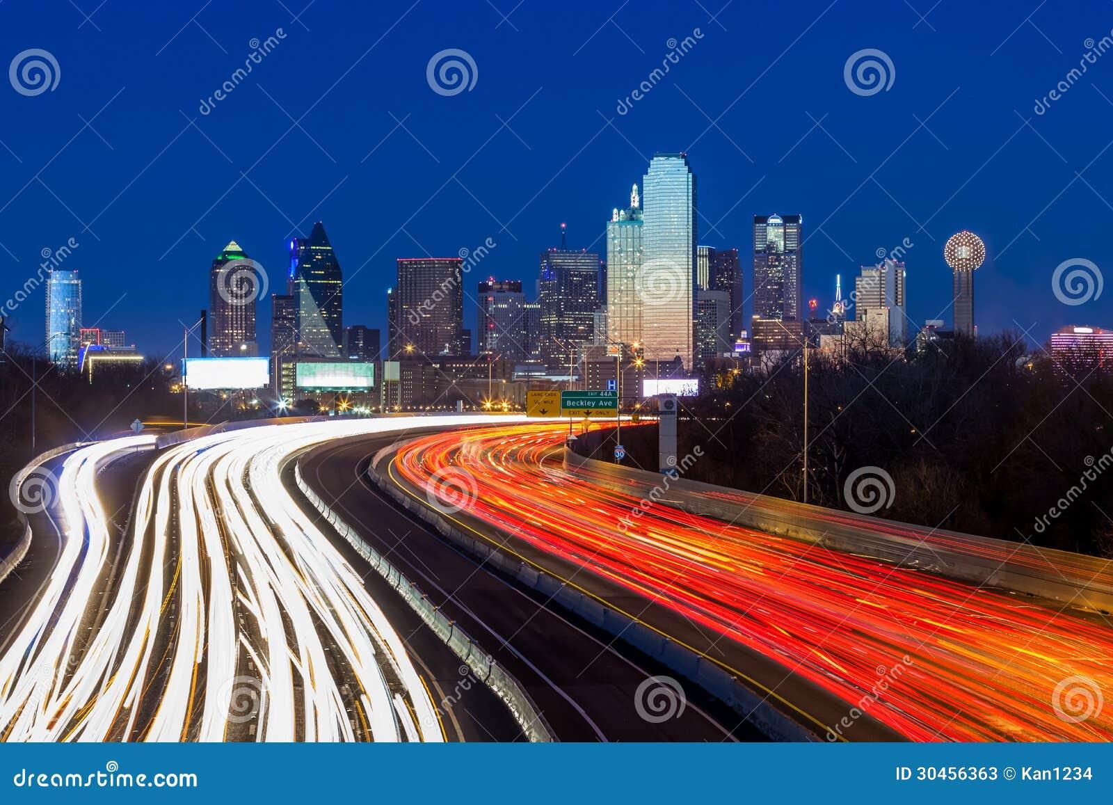 Horizon du centre de Dallas la nuit
