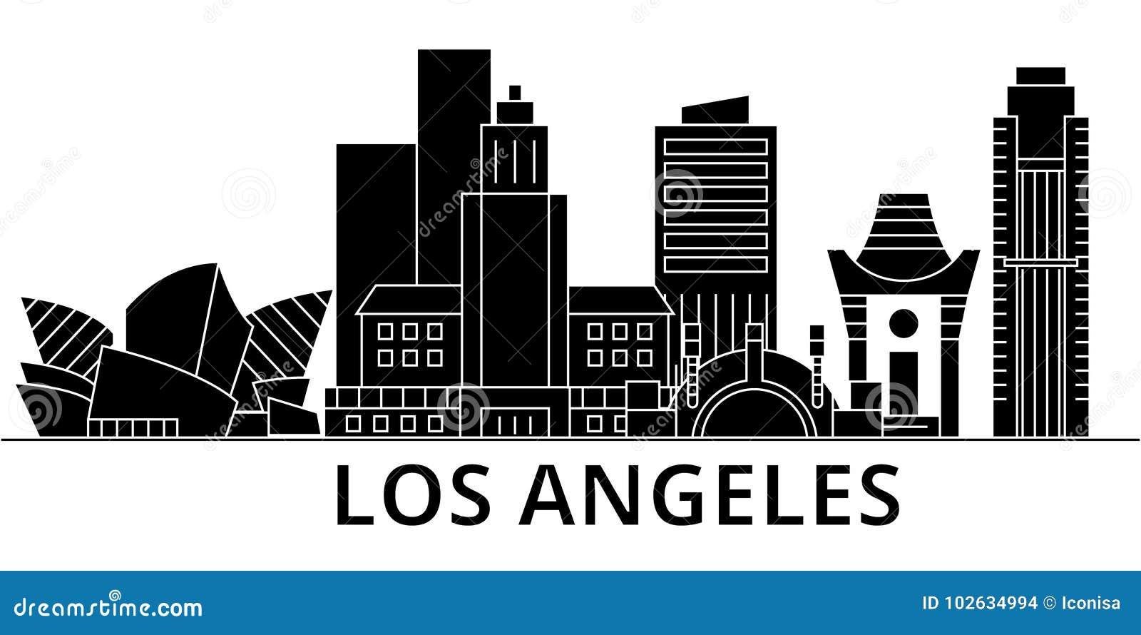 Horizon van de de architectuur isoleerde de vectorstad van Los Angeles, reiscityscape met oriëntatiepunten, gebouwen, gezichten o