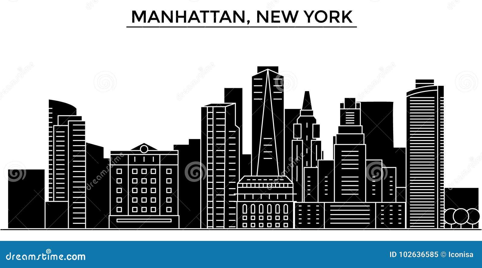 Horizon van de de architectuur isoleerde de vectorstad van de V.S., Manhattan, New York, reiscityscape met oriëntatiepunten, gebo