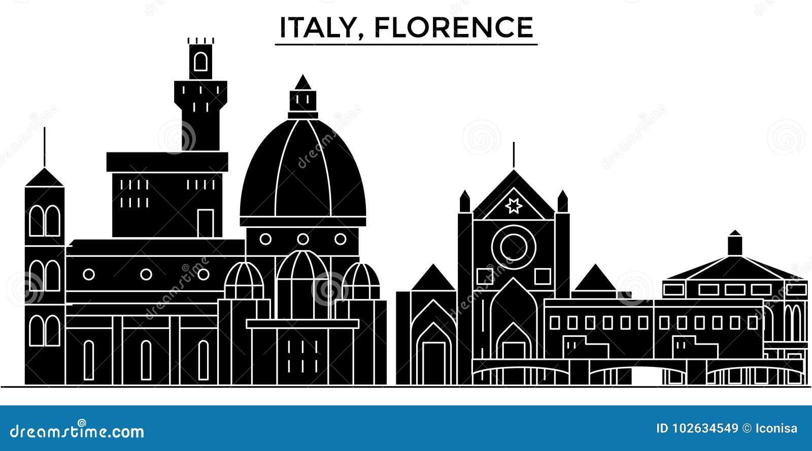 Horizon van de de architectuur de vectorstad van Italië, Florence
