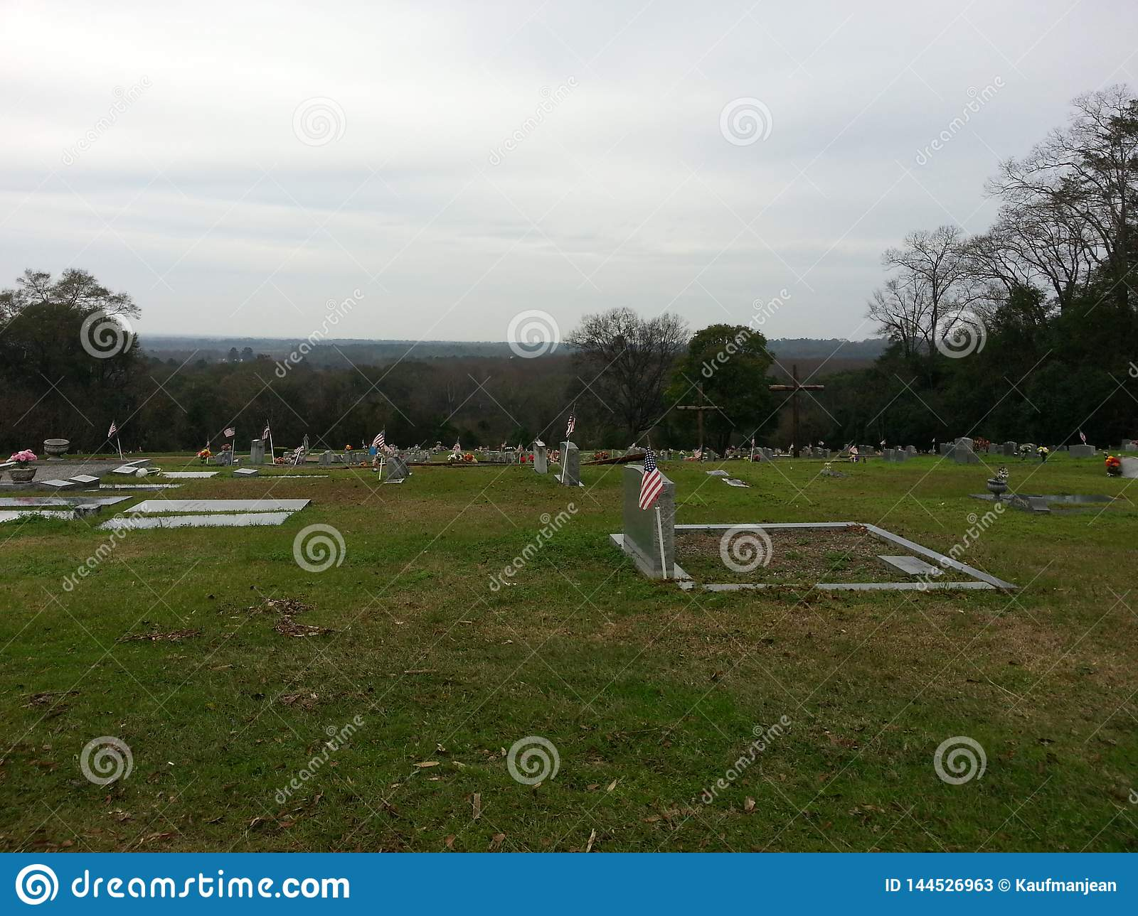 Horizon - Wooden Crosses in a graveyard Montgomery AL