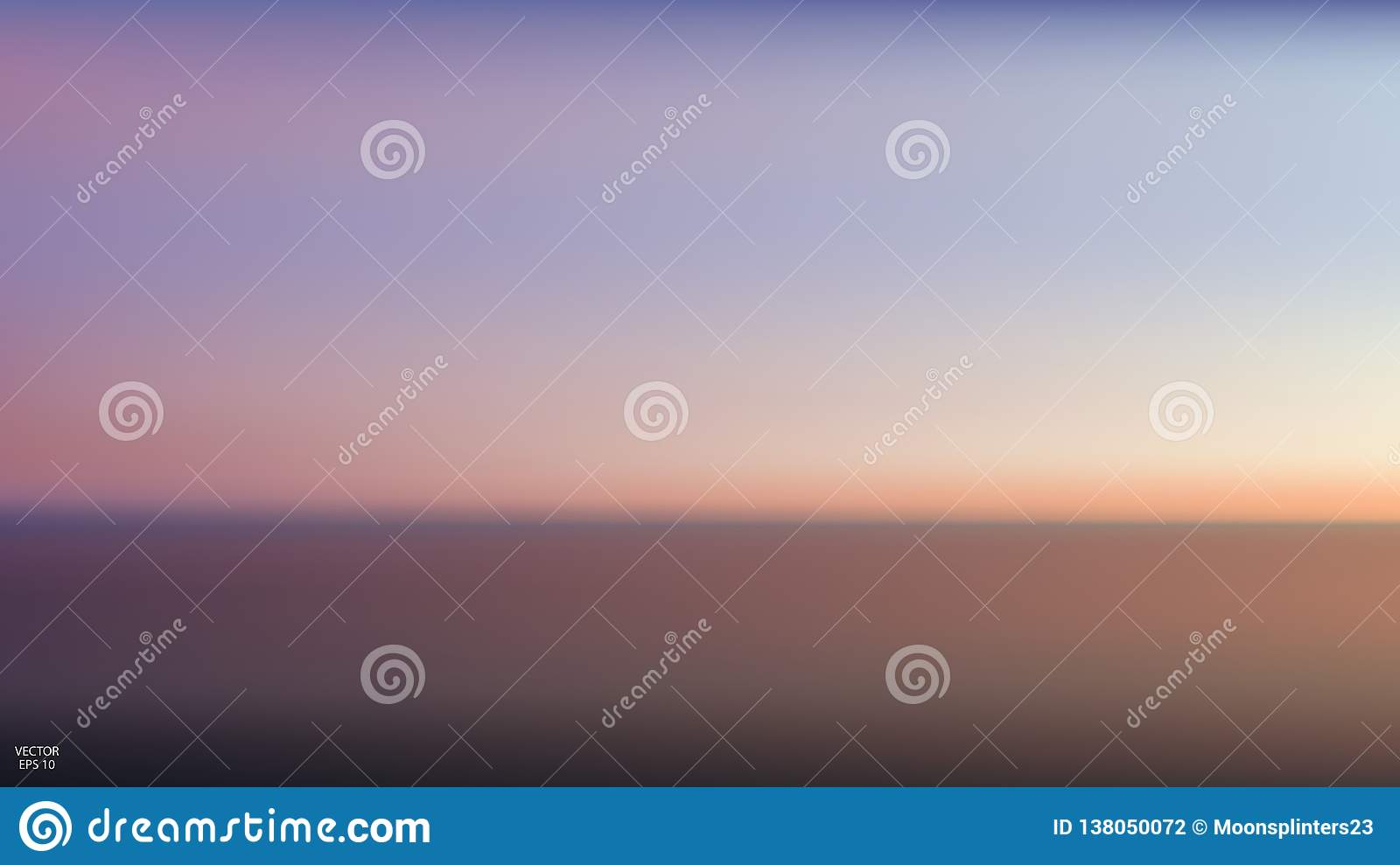 Abstract aerial panoramic view of sunset over ocean. Nothing but sky and water. Beautiful serene scene. Vector illustration