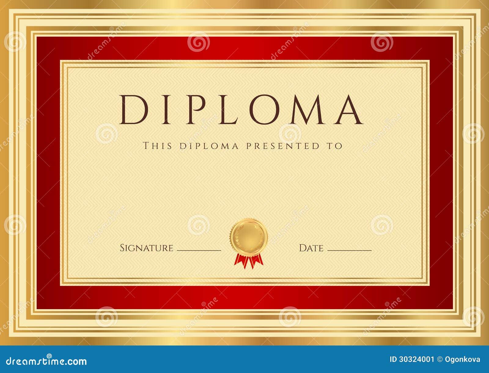 Het malplaatje van het diploma van het certificaat met rode grens stock afbeelding afbeelding - Geloofsbrieven ontwerp ...