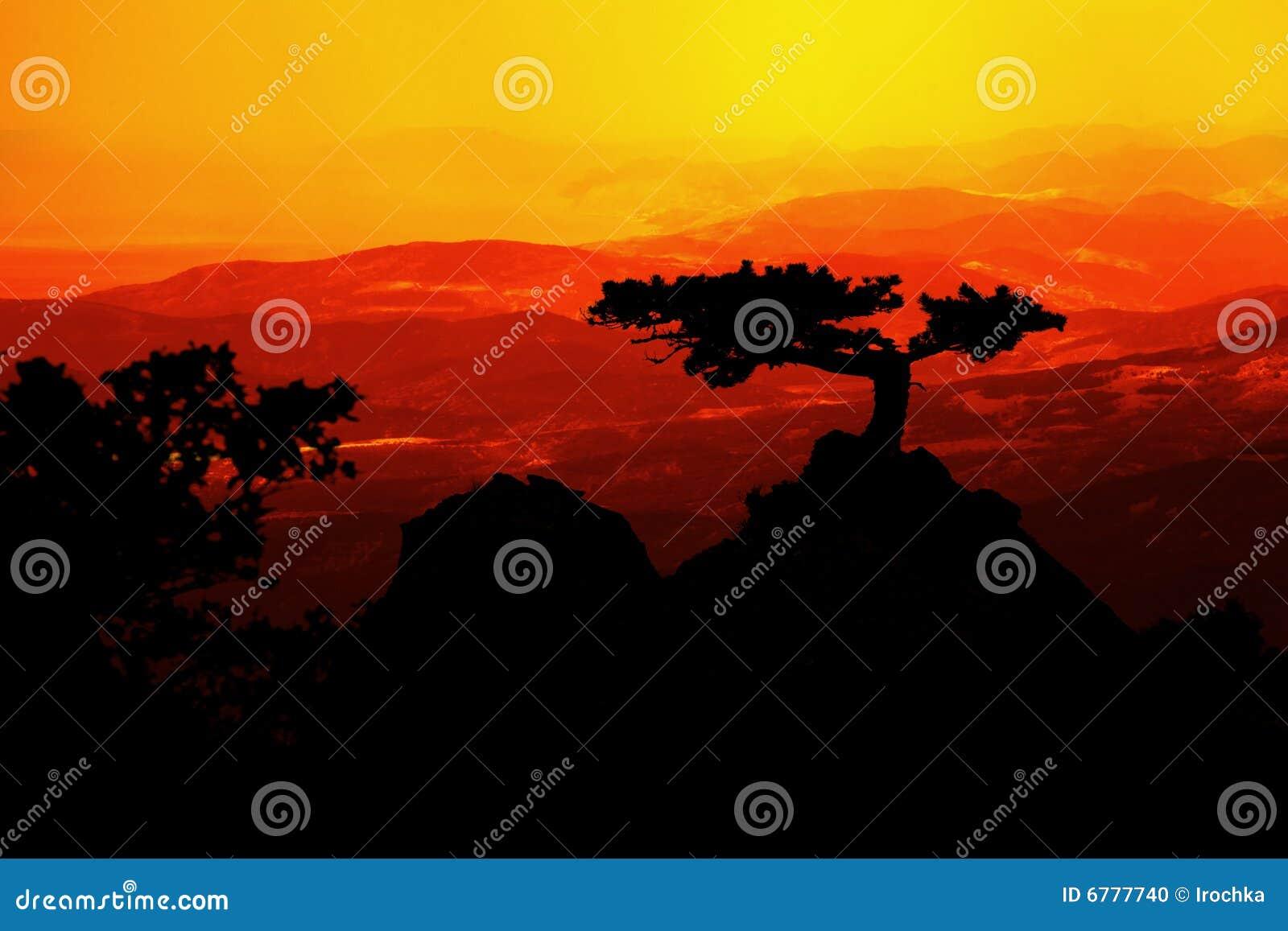 Horizontal au coucher du soleil